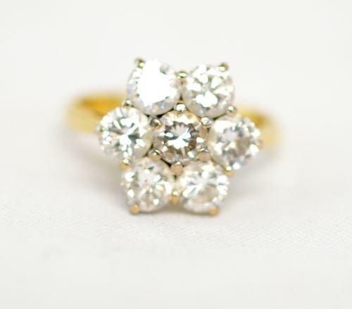 Diamond flowerhead cluster ring comprising seven
