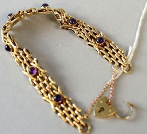 Amethyst set gold bracelet Hallmarked 9ct. gold gate