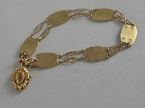 Early 20th century 9ct gold bracelet with charm 8,2 gra