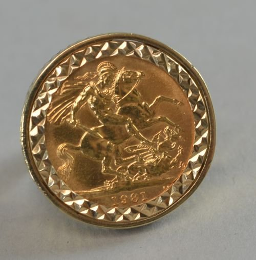 Modern sovereign 1981 set into 9ct ring 14.9 grams