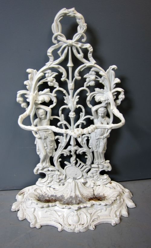 Ornate cast metal umbrella stand 40 x 23in. (102 x
