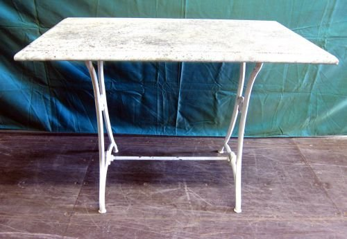 Marble topped garden table with cast iron base 28 x 39