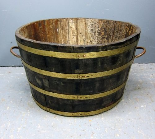Oak and brass-bound garden planter diameter 27""