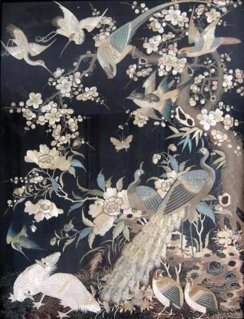Chinese silk panel decorated with birds 21 x 16in. (53