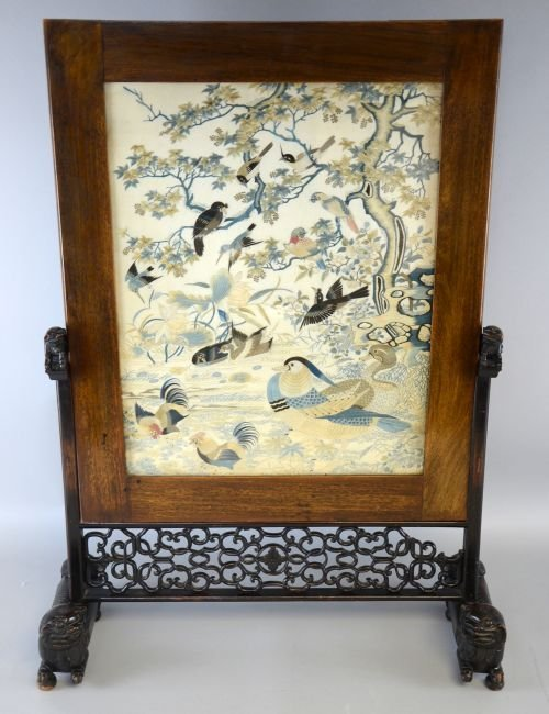 Early 20th century Chinese silk embroidered screen in