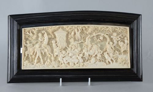 "19th Century European framed ivory carving ""Bacchus"