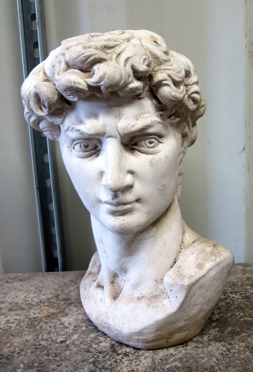 Composite stone head modelled after Michelangelo's Davi