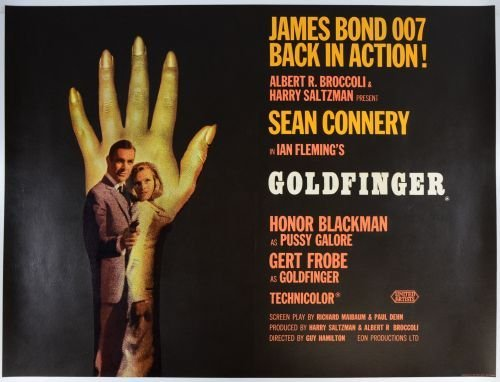 James Bond, Goldfinger (1964) British Quad film poster,
