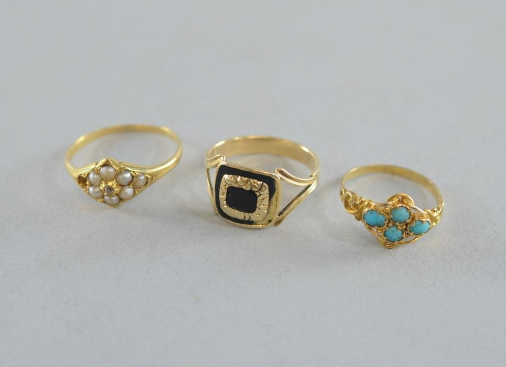 Victorian gold ring set with seed pearls, another with