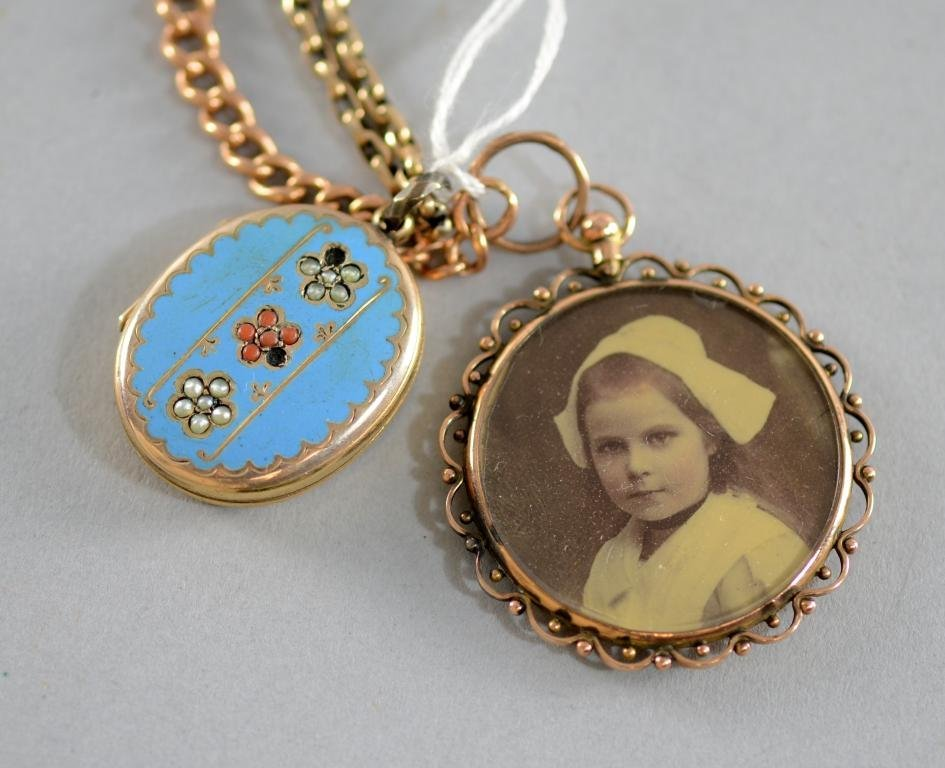 Victorian yellow metal and enamel locket with chain,