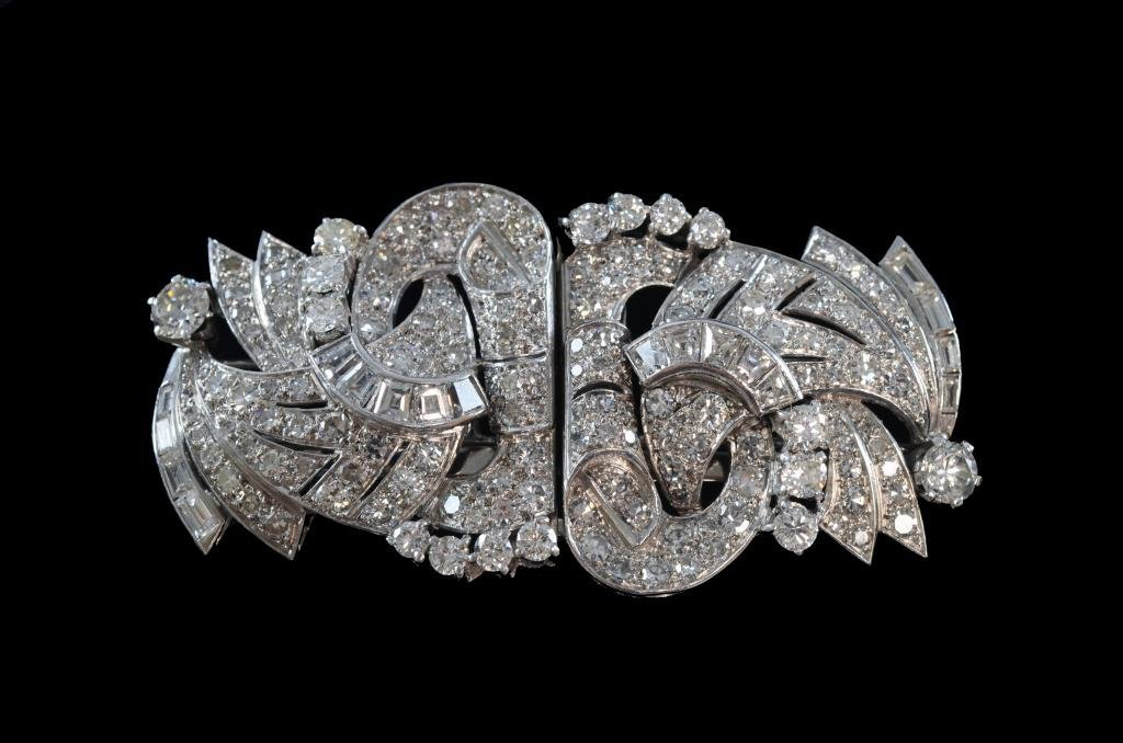 Diamond and platinum double clip brooch mixture of