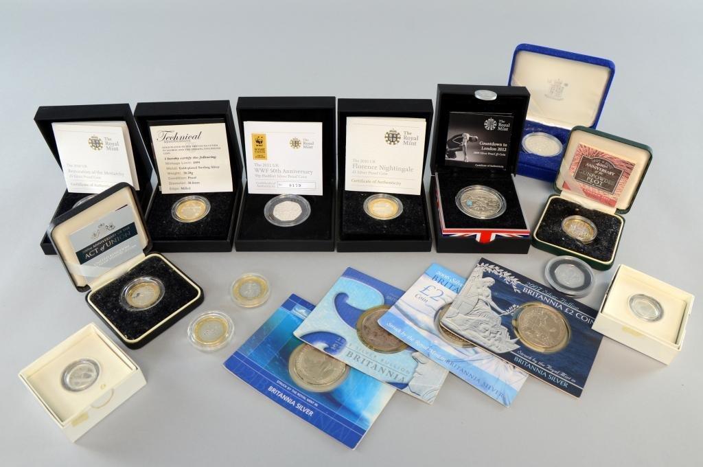 Elizabeth II silver Proof £5's, 2007, 2010, 2012,
