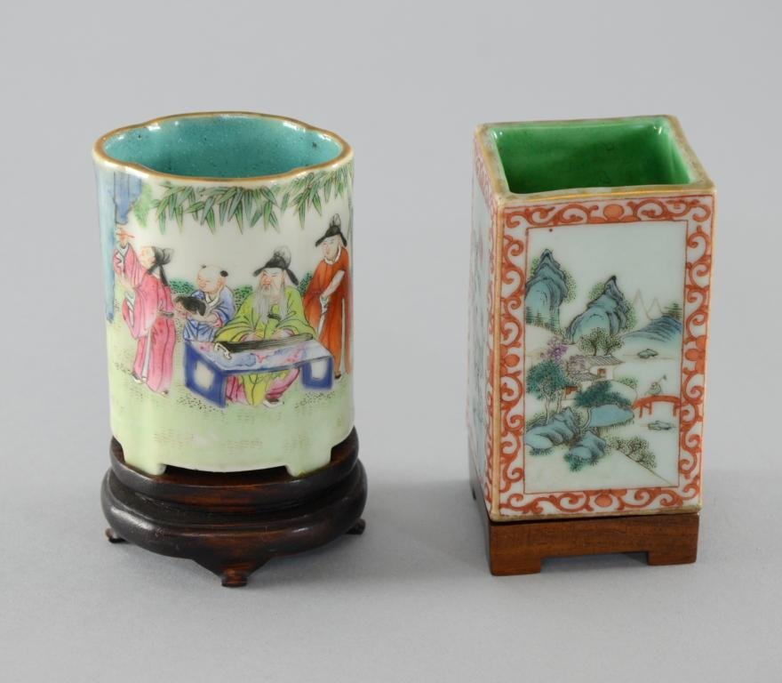 """Chinese famille rose square vase (height 4""""), and"""