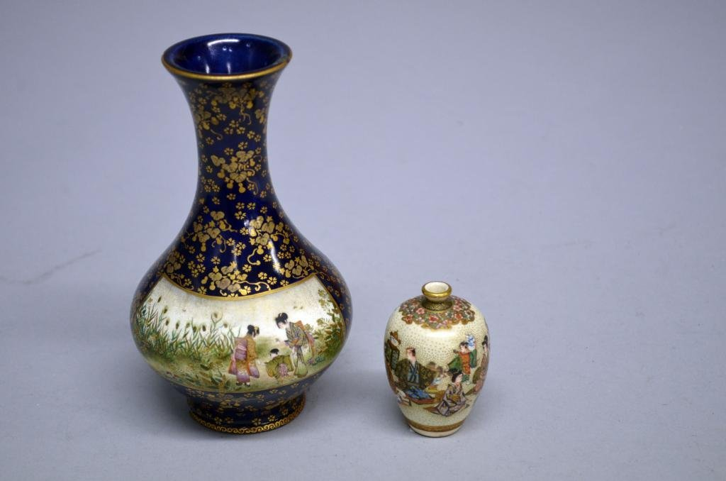 """Japanese satsuma vase (height 6""""), and another (height"""