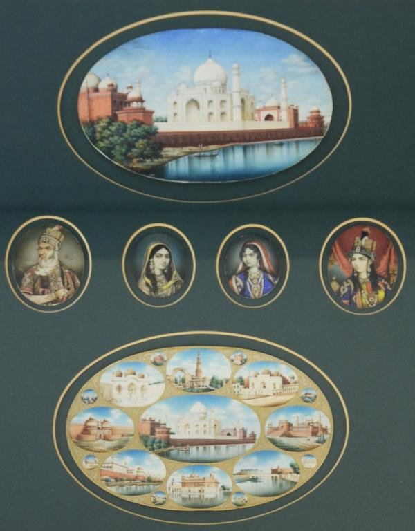 Indian watercolour miniatures on ivory depicting the