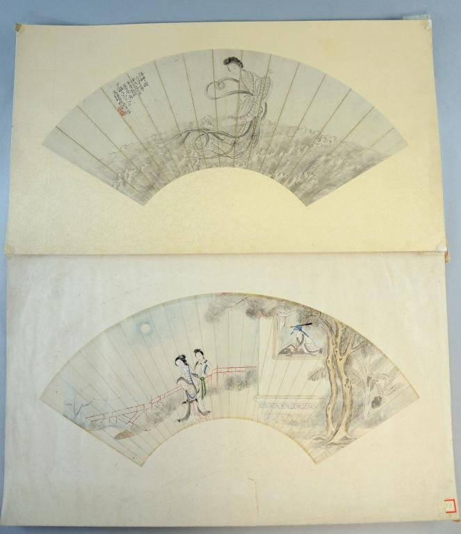 Two Chinese watercolour fan leaves, unframed, mounted