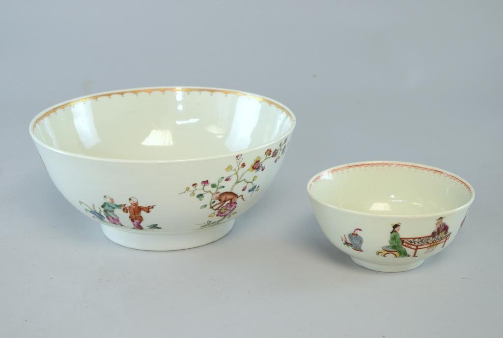 """Chinese bowl decorated with figures (8"""" diameter) and a"""