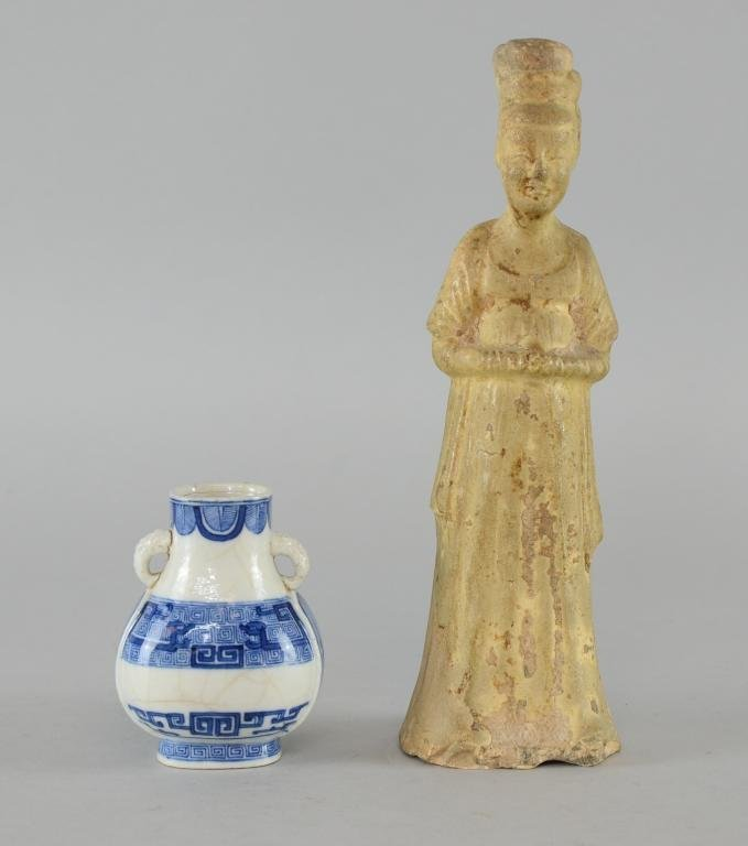 Chinese pottery figure of a lady, partially glazed,