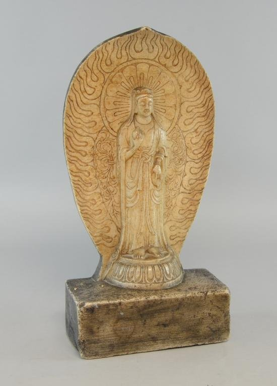 Carved soapstone figure of Guanyin with script verso