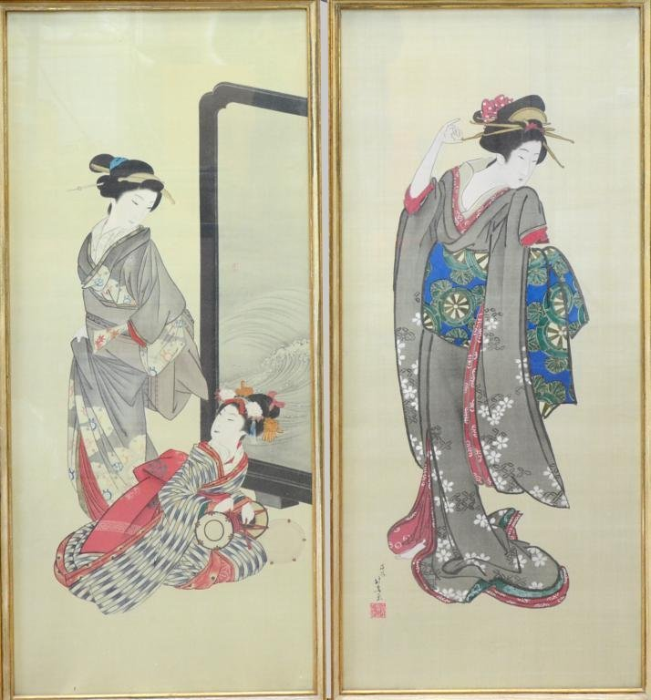 Two Japanese portraits on silk, ladies in traditional