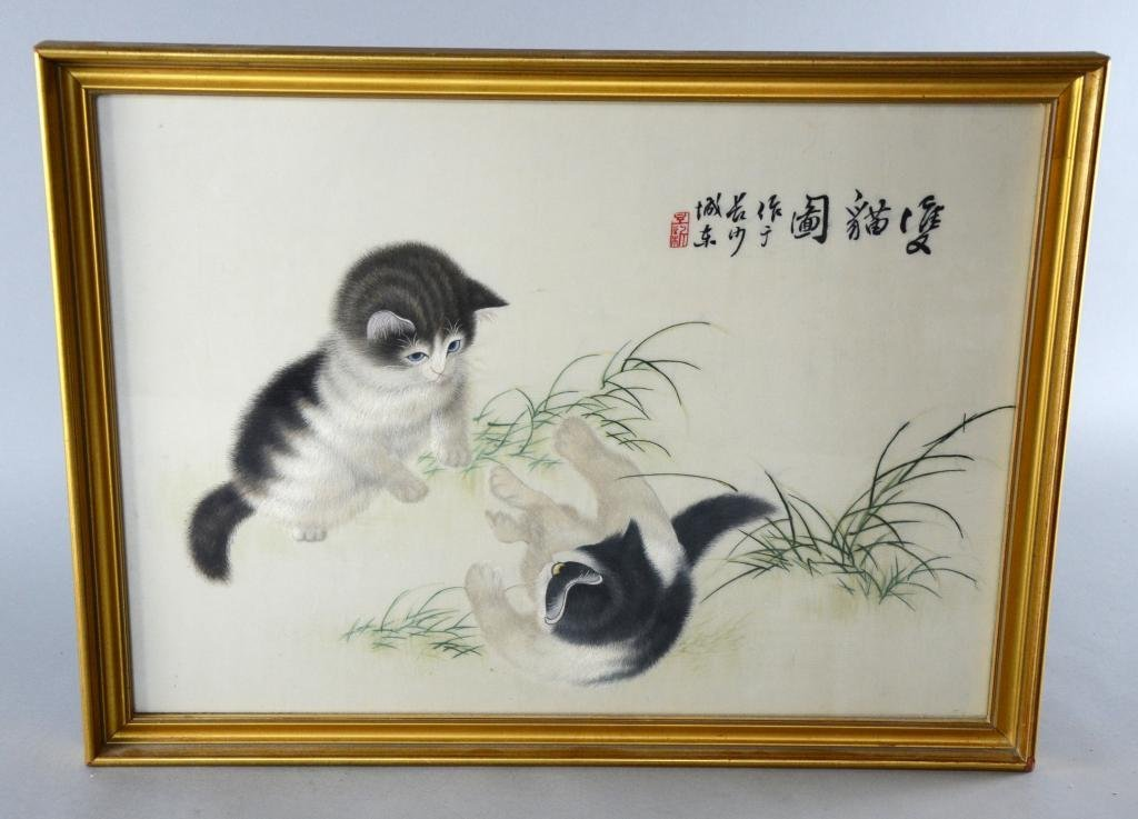 Chinese silk embroidery, two kittens playing, worked in