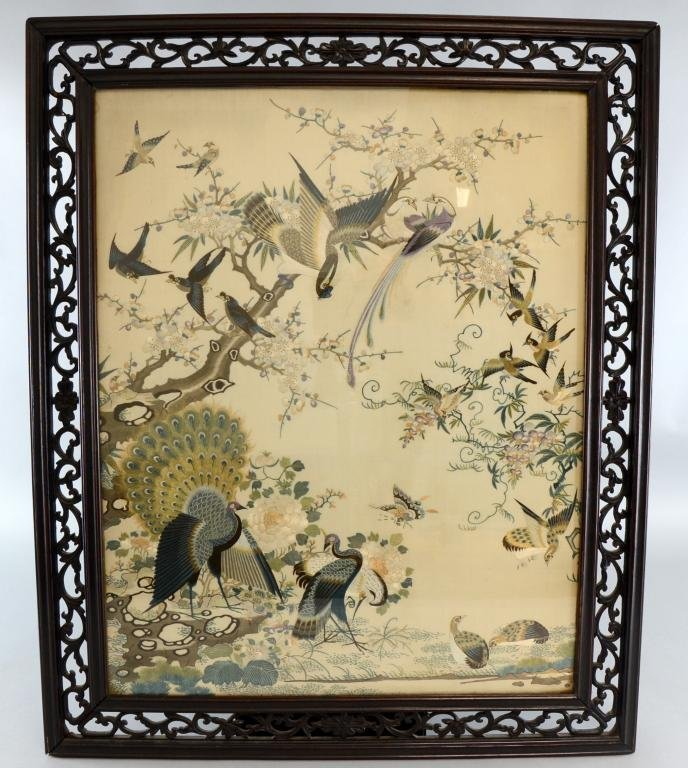 Chinese silkwork embroidery , depicting peacocks ,