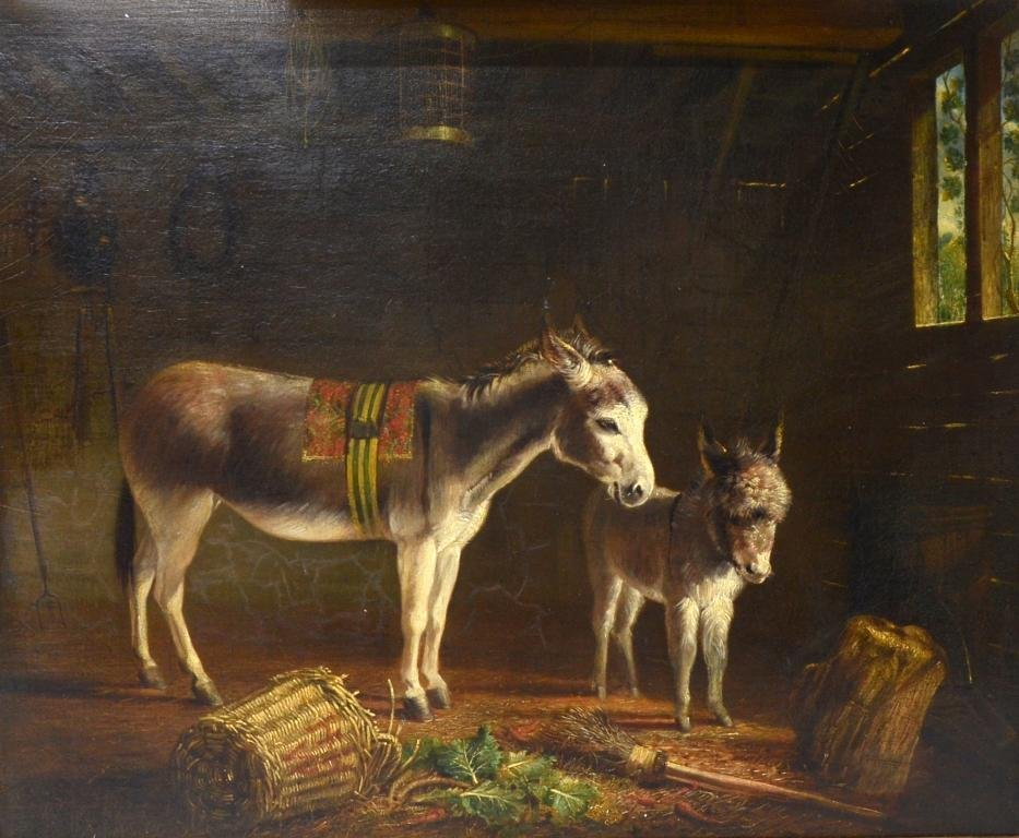 19th century English school donkey and foal,