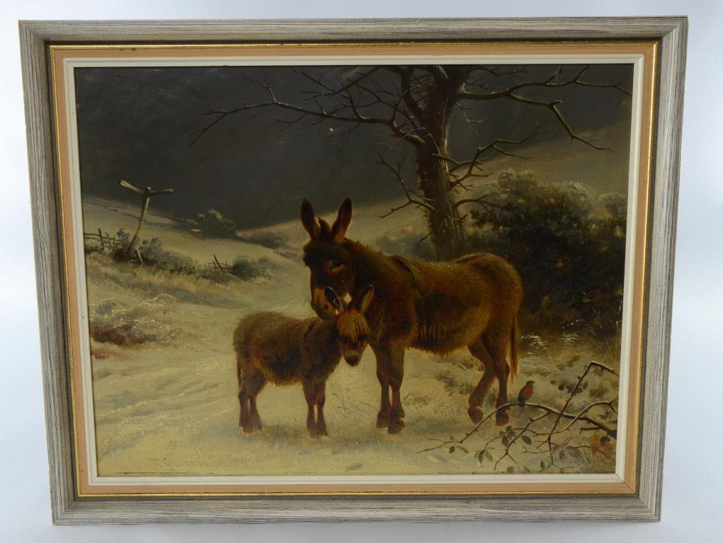 Thomas George Cooper, donkey and foal in a winter