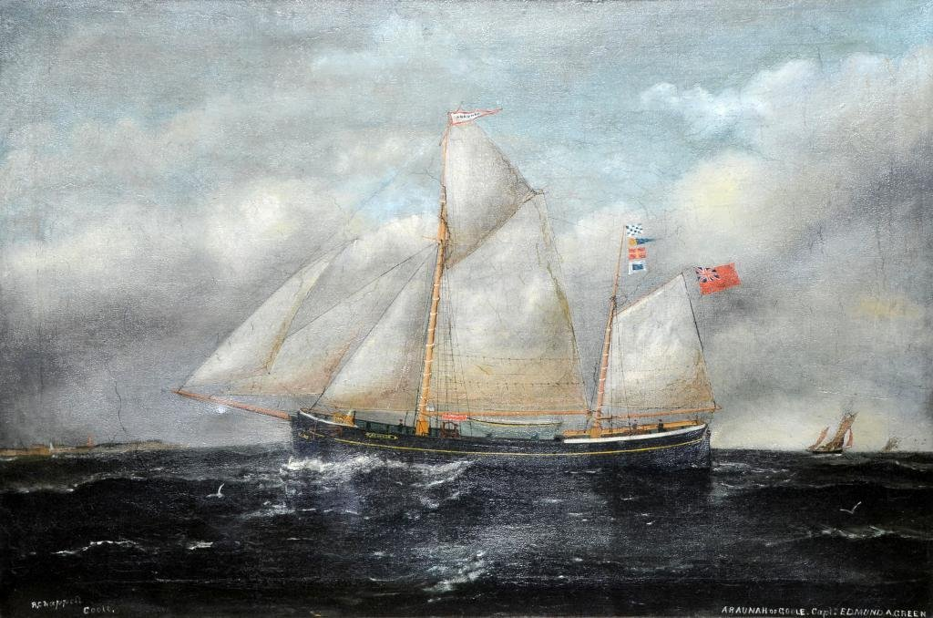 A Chappell, oil on canvas, sailing ship, inscribed The