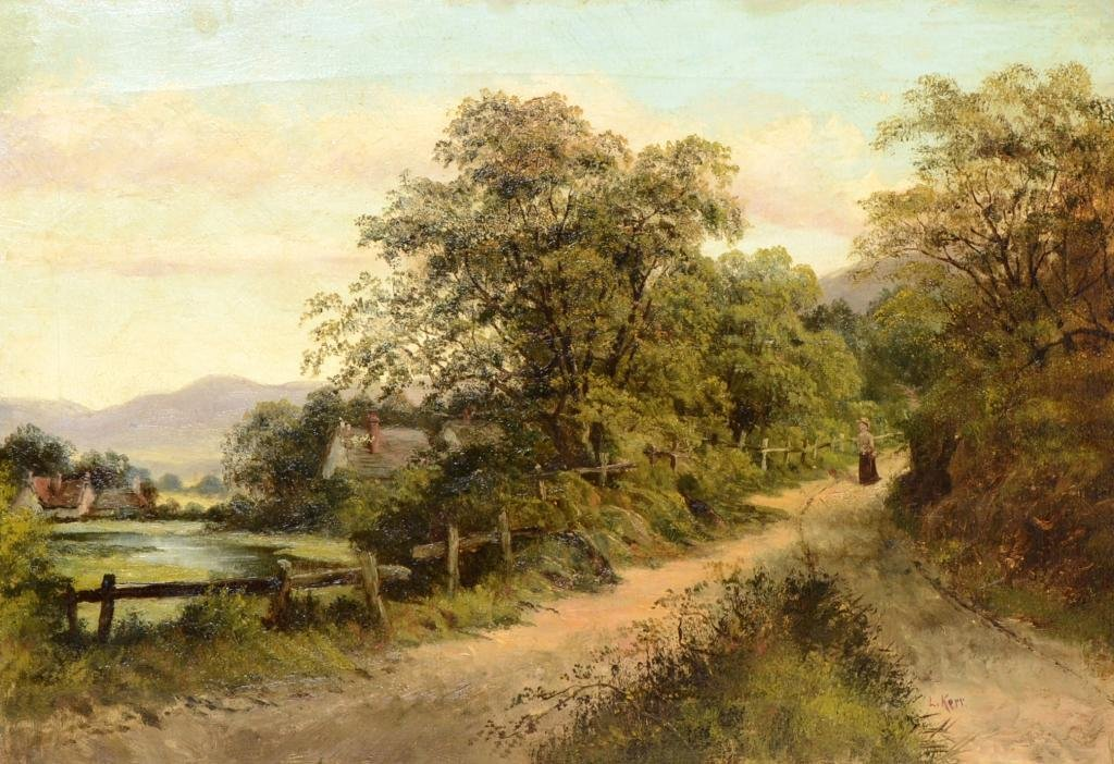 L. Kerr - pair of landscape scenes with figures on a