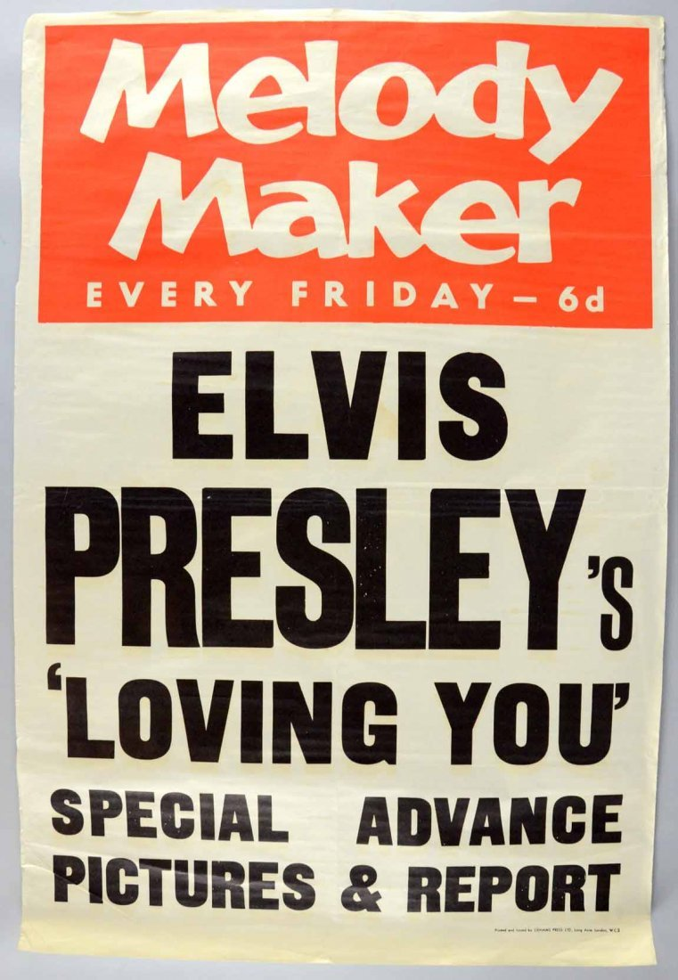 A Melody Maker music poster for Elvis Presley's 'Loving