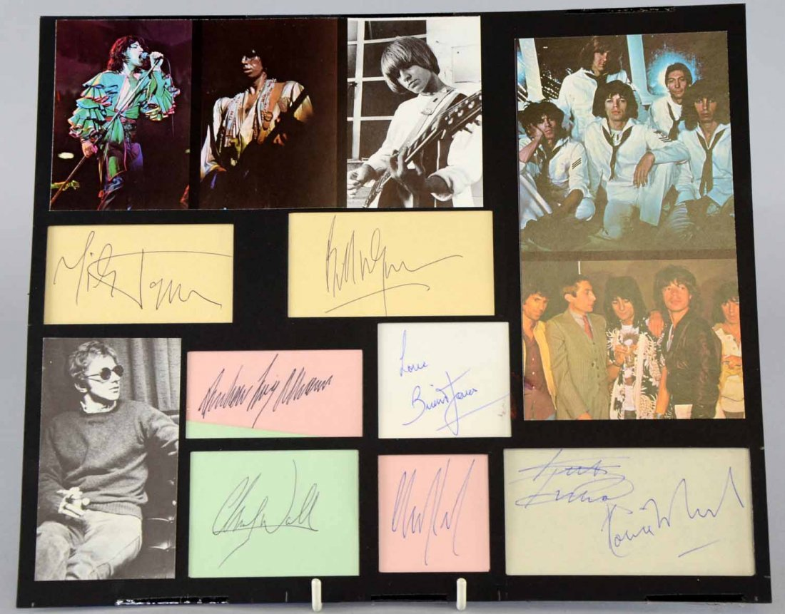 The Rolling Stones, a set of autograph cards including