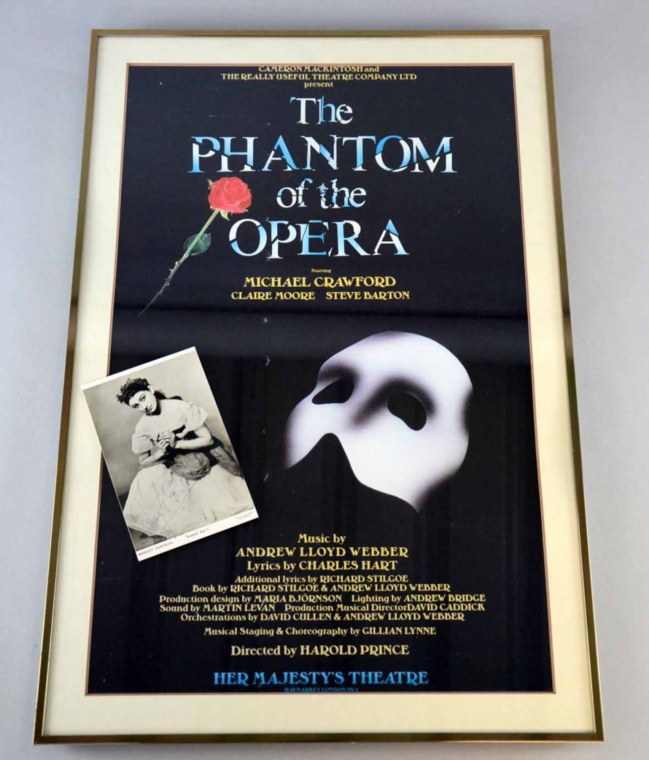 Framed Phantom of the Opera Theatre poster and a