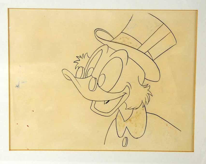 Walt Disney, Pencil drawing of Scrooge McDuck, framed,