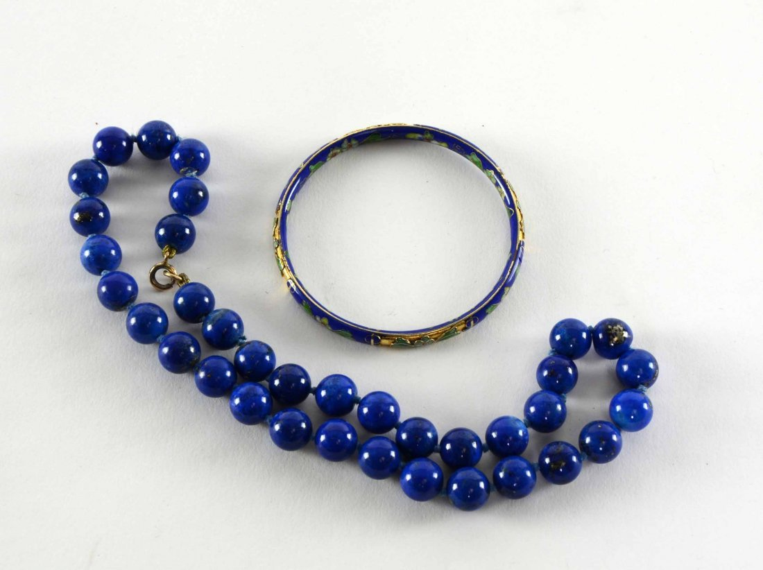 Lapis lazuli bead necklace with gold clasp, circa 1900,