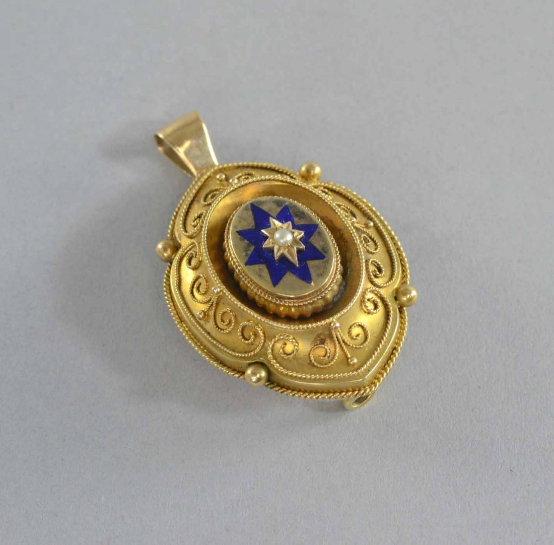 Victorian bloomed gold pendant with enamel star and