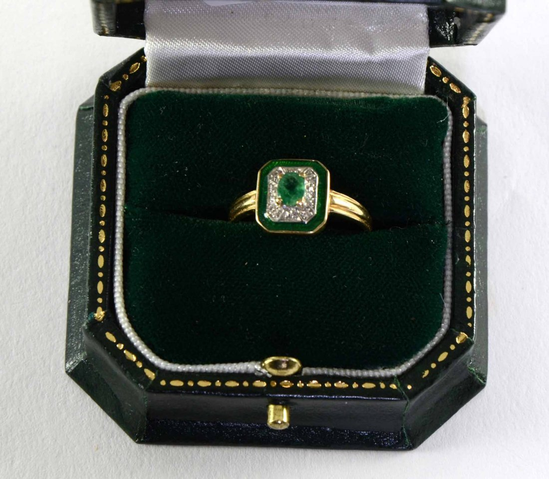 Emerald and green enamel Art Deco style plaque ring