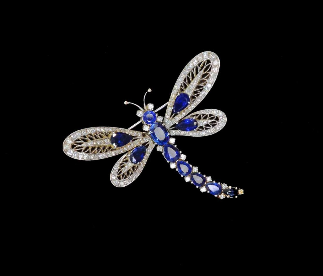 Edwardian diamond and sapphire dragonfly brooch ,