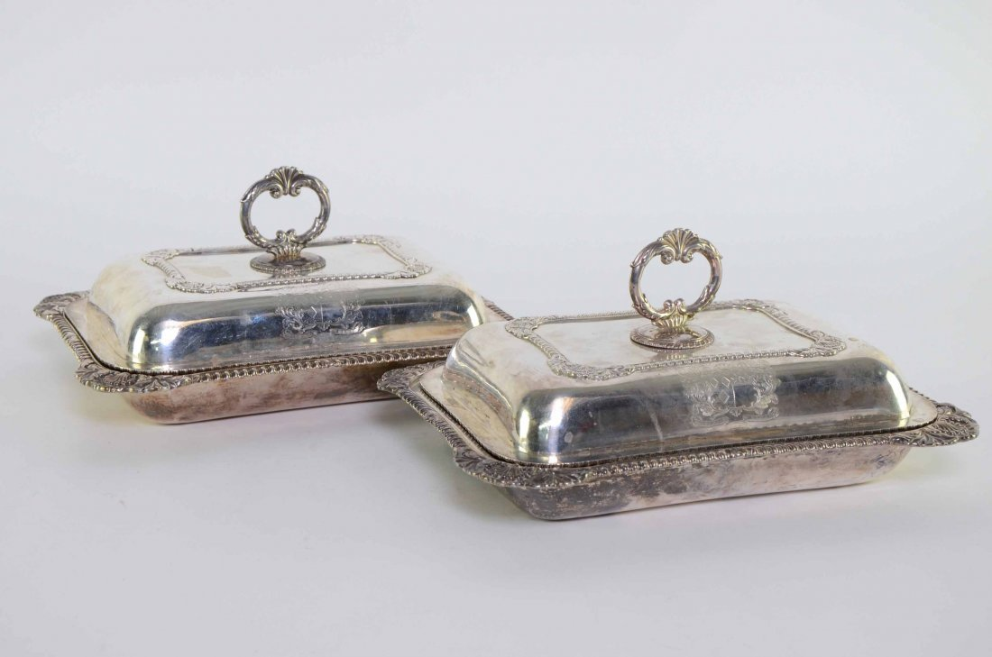 Pair of George IV silver entree dishes and covers, with
