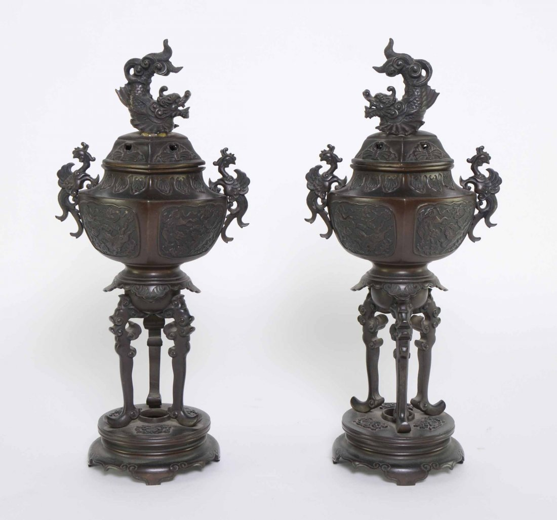 Pair Japanese bronze censors decorated with Dragons