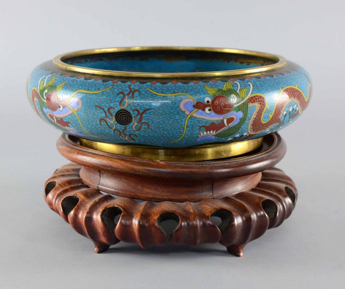 Chinese cloisonne bowl with inturned rim, decorated