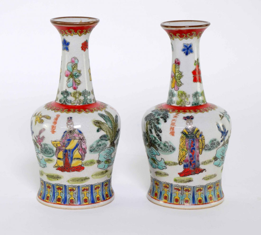 Pair of Chinese famile rose vases, decorated with