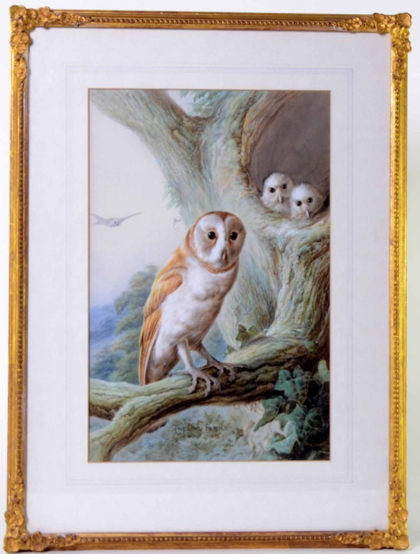 Harry Bright (1846-1895) 'The Owl Family', watercolour
