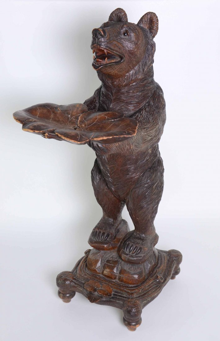Black Forest carved wood bear stand with card tray,