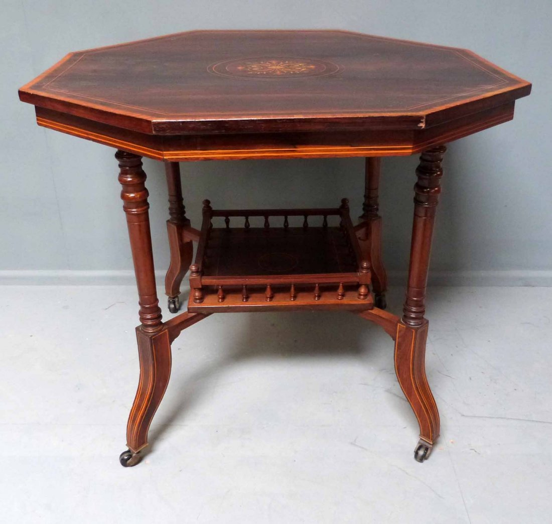 19th century rosewood, satinwood and parquetry inlaid