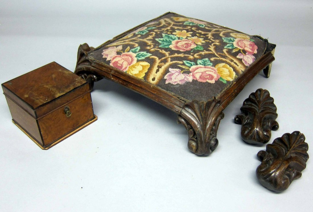 Carved oak gothic design footstool with tapestry seat