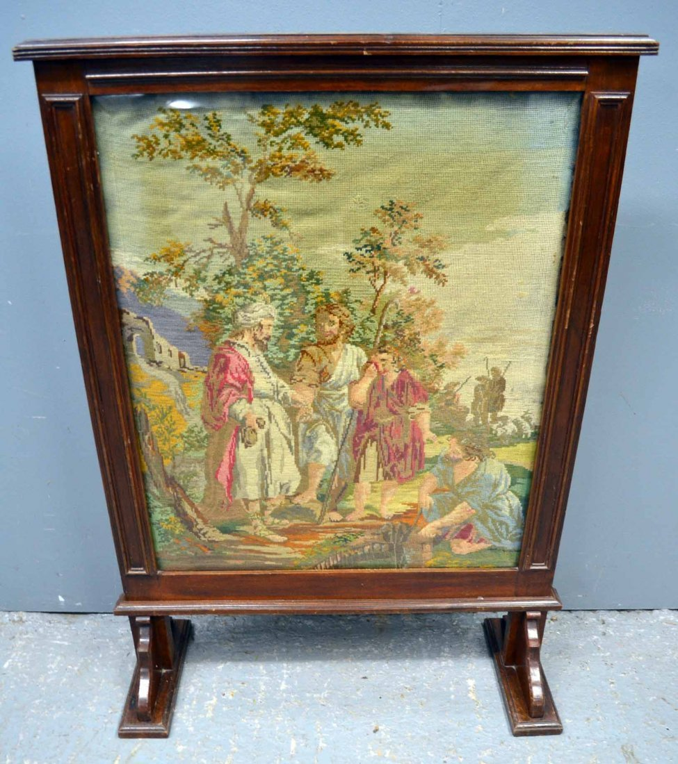 19th century mahogany framed tapestry screen inset with