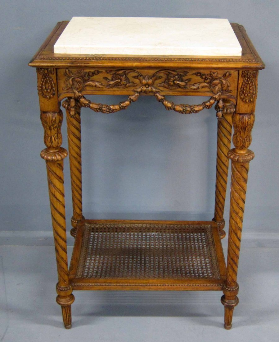 19th century carved walnut side table with marble top