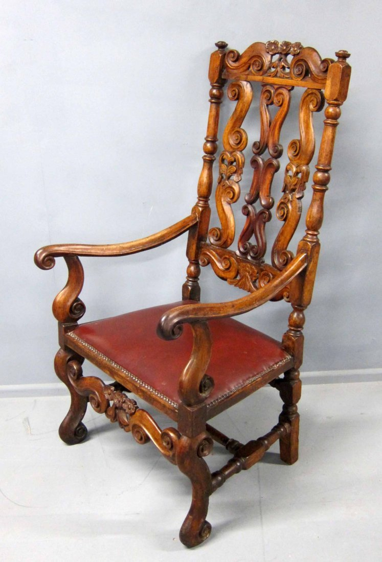 Late 17th Century carved walnut elbow chair 45in.