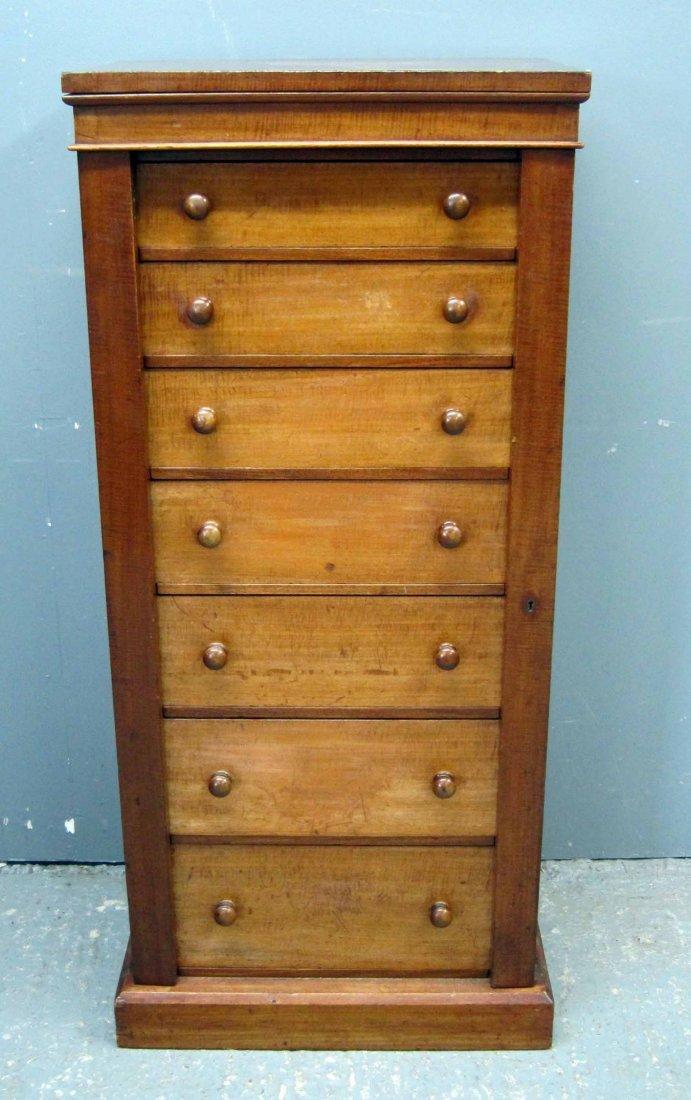 19th century mahogany wellington chest of seven drawers